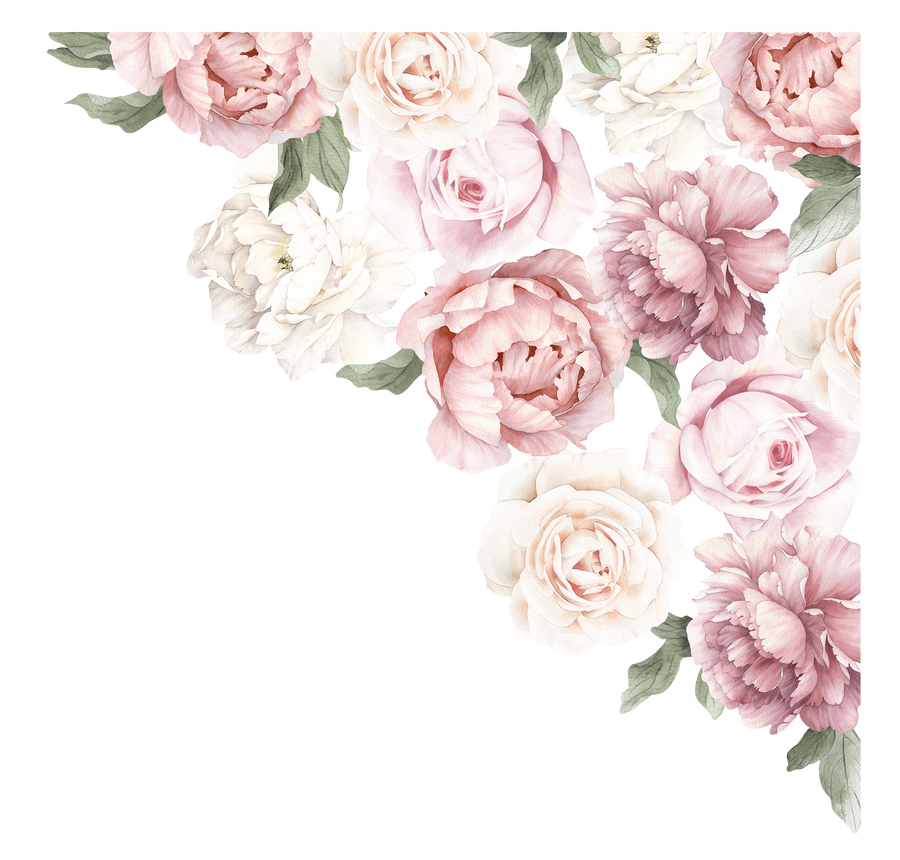Peony & Rose Corner Wall Decal
