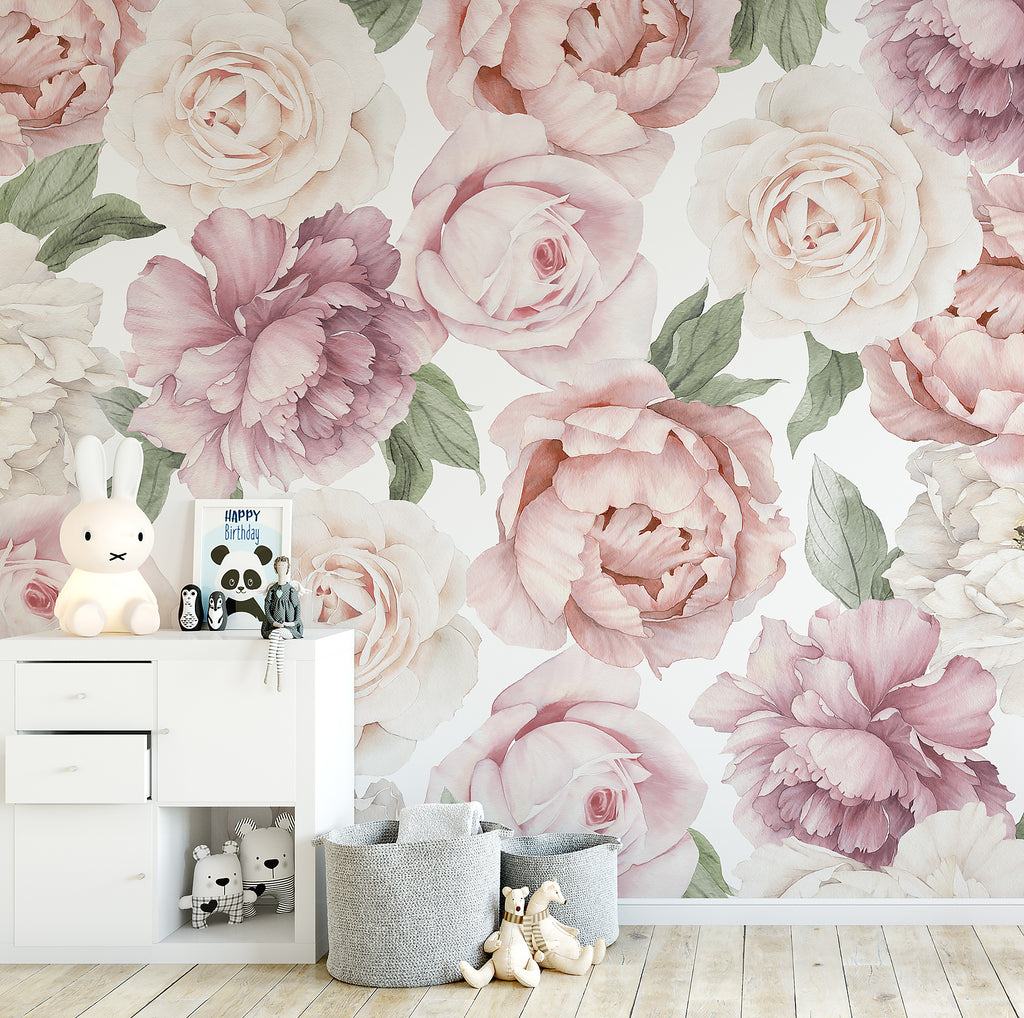 Peony and Rose Wallpaper - Ginger Monkey