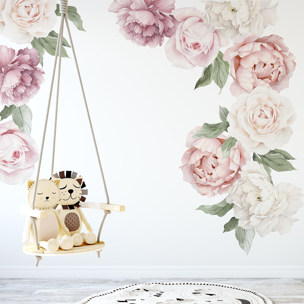 Wall Murals Girls Peony Amp Rose Individual Wall Decals Ginger Monkey