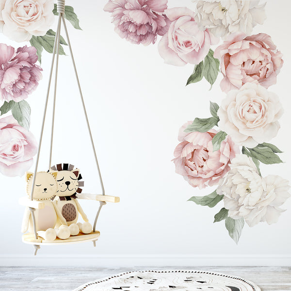 Peony Amp Rose Individual Wall Decals Ginger Monkey