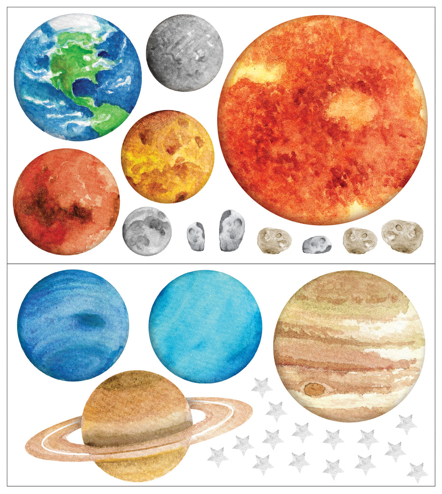 Watercolour Planets Individual Wall Decals - Ginger Monkey