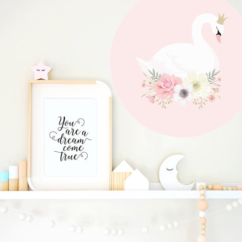 Swan Princess Pink Wall Decal - Ginger Monkey