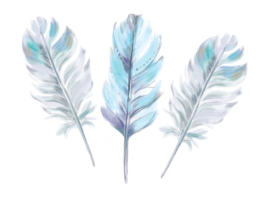 Boho Aqua Feather Set x 3 Wall Decals - Ginger Monkey