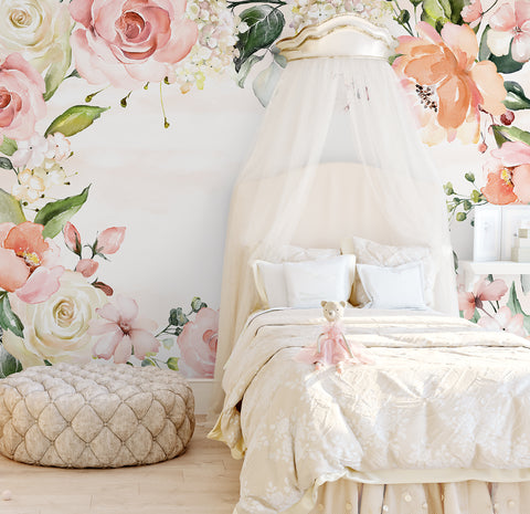Rose Garden Watercolour Wallpaper - Ginger Monkey