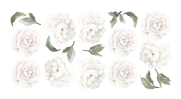 White Peony & Rose Wall Decals