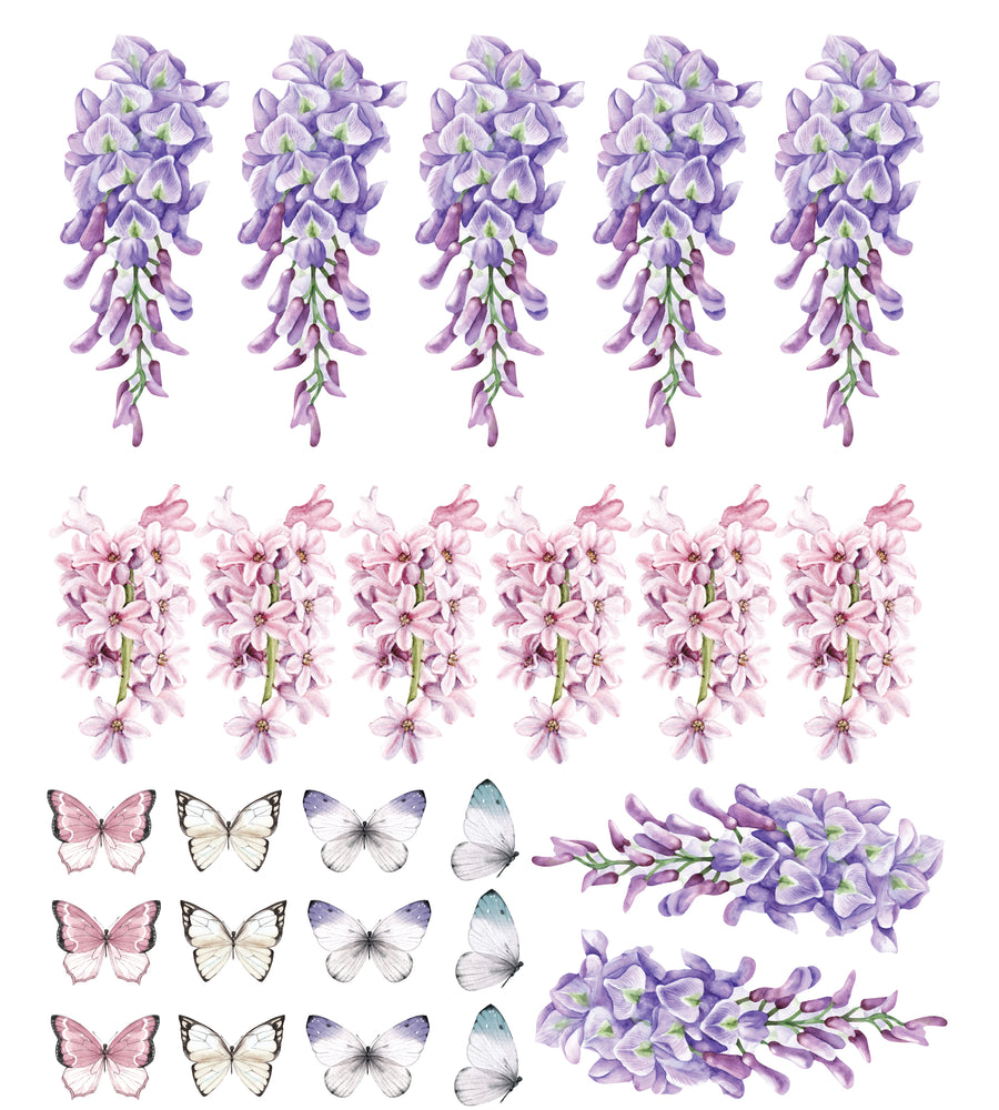 Wisteria, Hyacinth & Butterflies Set