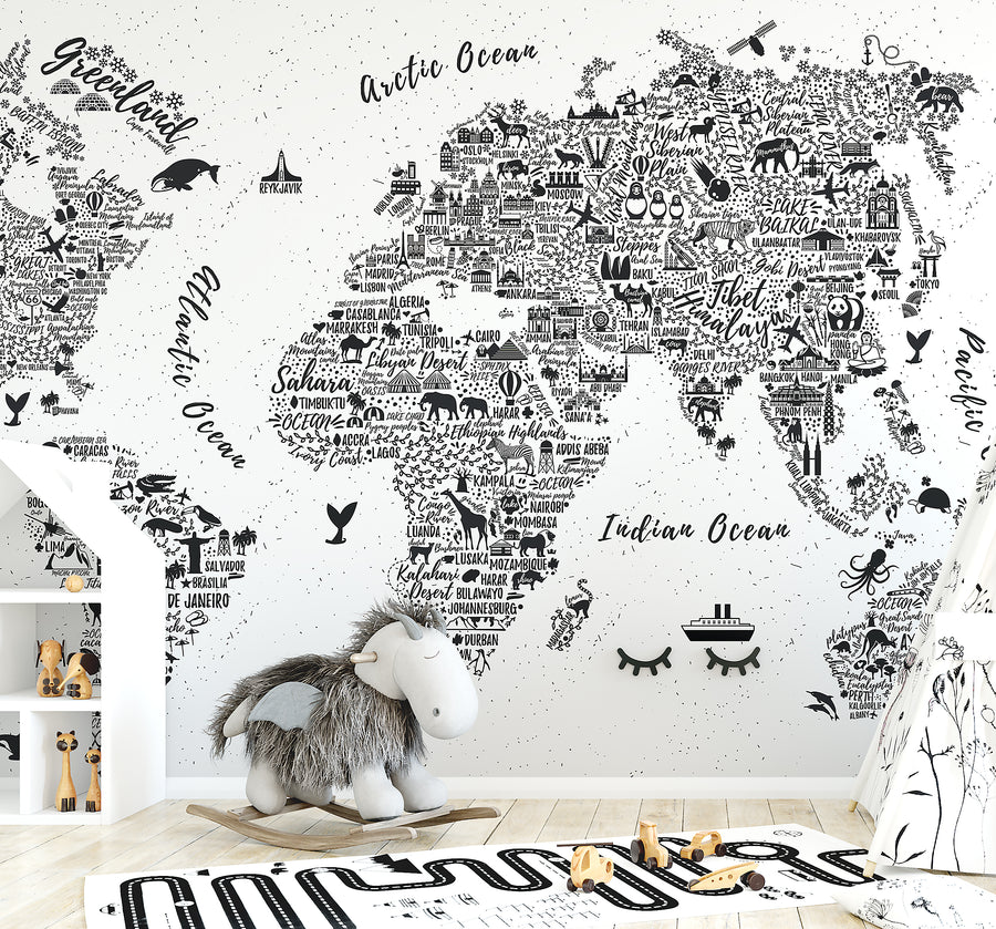 World Map Typography Wallpaper - Ginger Monkey