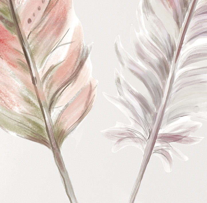 Boho Pink Feather Set x 3 Wall Decals - Ginger Monkey
