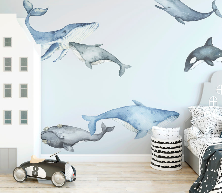 Watercolour Whale Decal Set