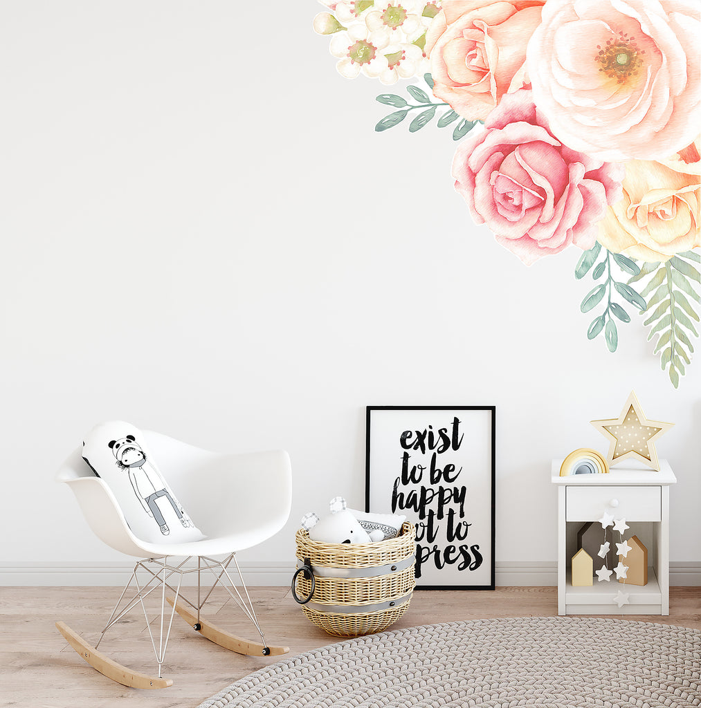Rose Garden Corner Wall Decal - Ginger Monkey