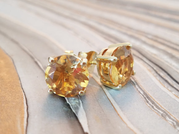beauty round citrine earrings princess cosplay earrings 14k gold 925 sterling silver