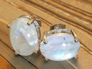 In Cindy's Dreams Oval White Rainbow Moonstone Earrings in 925 Sterling Silver Cosplay Jewelry