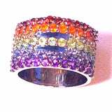 Equal Sign Equality Safe Space Rainbow Gemstone Sterling Silver Ring comes in 925 Sterling Silver also in 925 Sterling Silver with Rose Gold Plating, Yellow Gold Plating and Black Rhodium size 6 7 and 8 LGBT LGBTQ Jewelry Rainbow Gay Lesbian Pride Rainbow Ring Genuine Gemstones