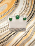 Green with Aventurine Stud Earring and Solitaire Ring Set in 925 Sterling Silver Cosplay Jewelry