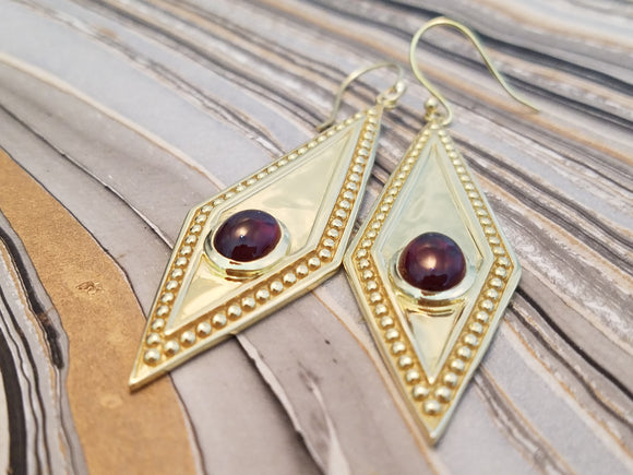 Storm of Garnet Earrings in 925 Sterling Silver with plated gold Cosplay Jewelry