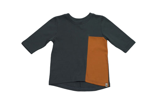 Long Sleeve Drop Back Shirt with Contrast Pocket - Forrest with Spice