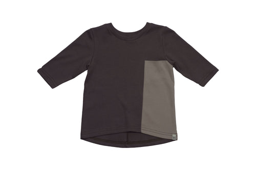 Long Sleeve Drop Back Shirt with Contrast Pocket - Seal Grey with Dove1