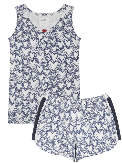 Organic Short Sleeve Girl Pajama Set with Heart Shaped Print