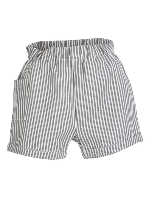 Organic Baby Shorts in Grey and White Stripes