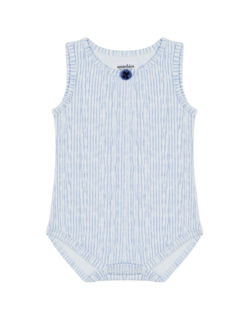 Organic Sleeveless Blue Onesie with Button Shaped Motif