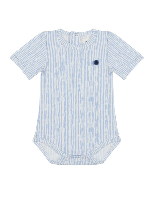 Organic Short Sleeve Blue Onesie with Button Shaped Motif