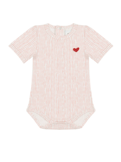 Organic Pink Onesie with heart shaped motif