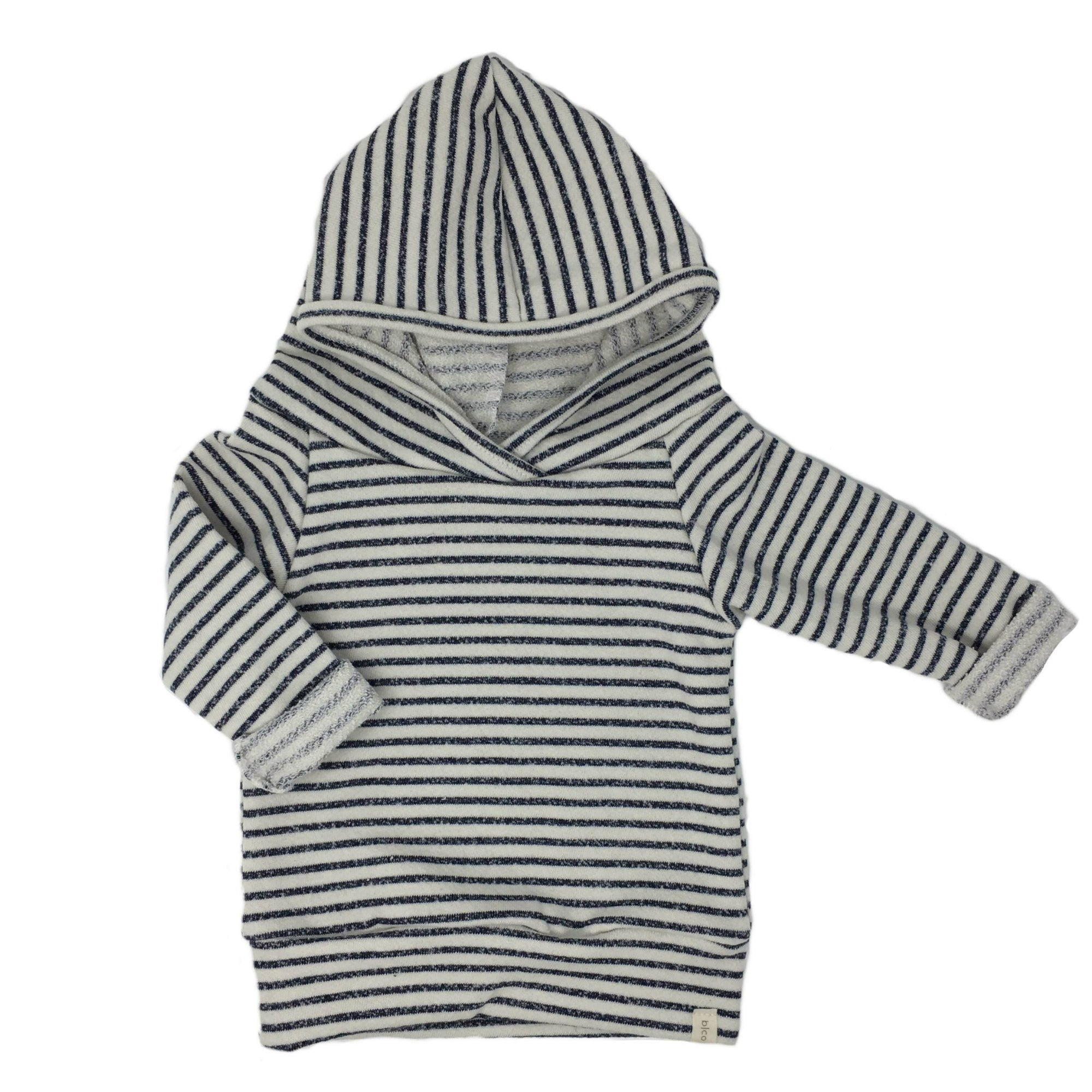 Baby Jogger Hoodie in Navy Stripes, Made in the USA