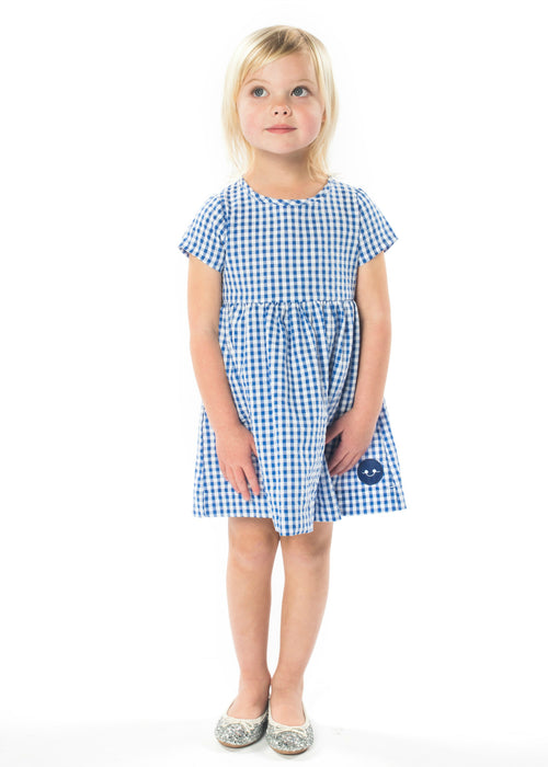 GIRL IN ALICE BLUE GINGHAM SUNDAY DRESS