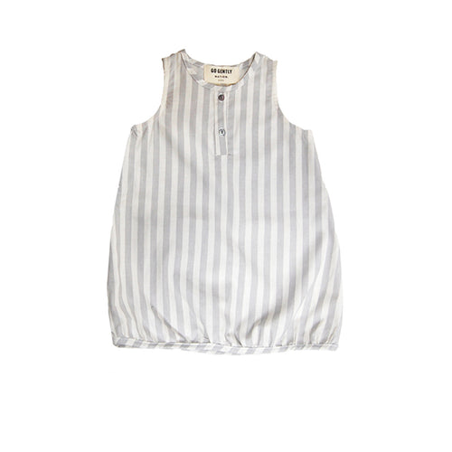 Organic Tank Sack Dress in Pumice Vertical Stripes