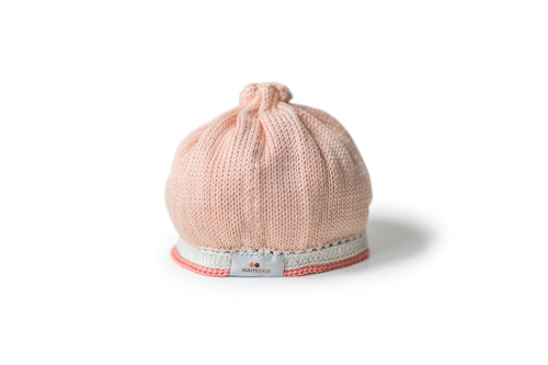 Handmade pima cotton baby hat in peach