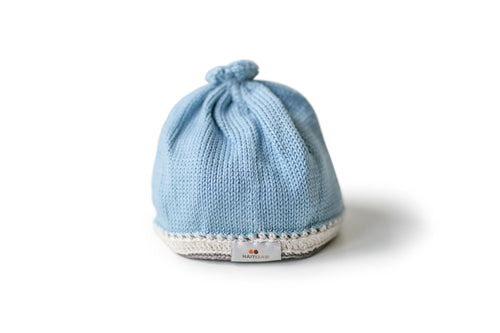 Handmade Pima Cotton Baby Hat - Light Blue