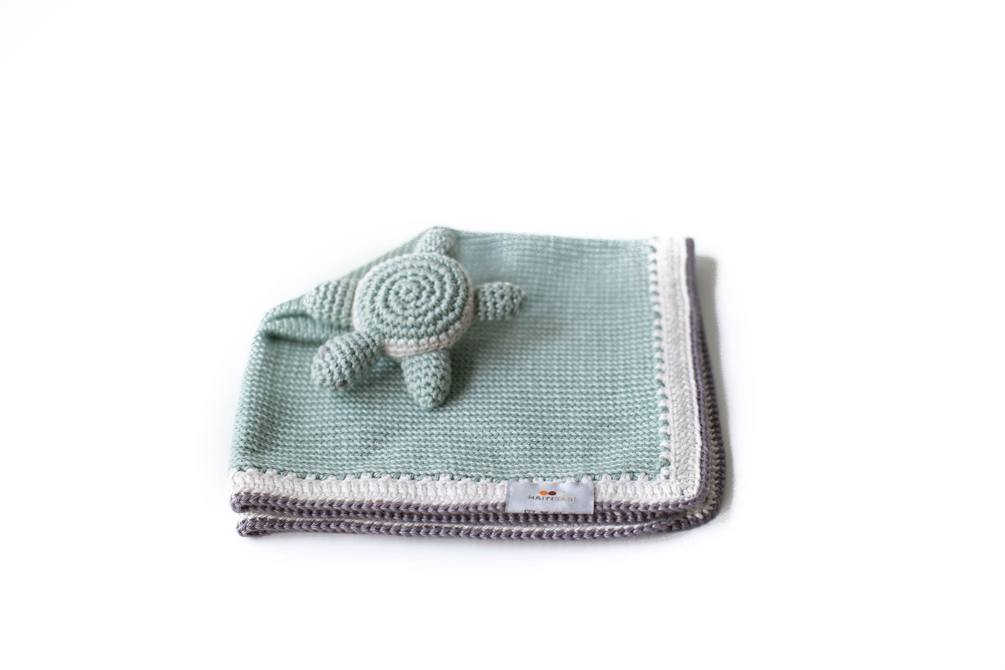 Handknit Turtle Lovey in Sage -2