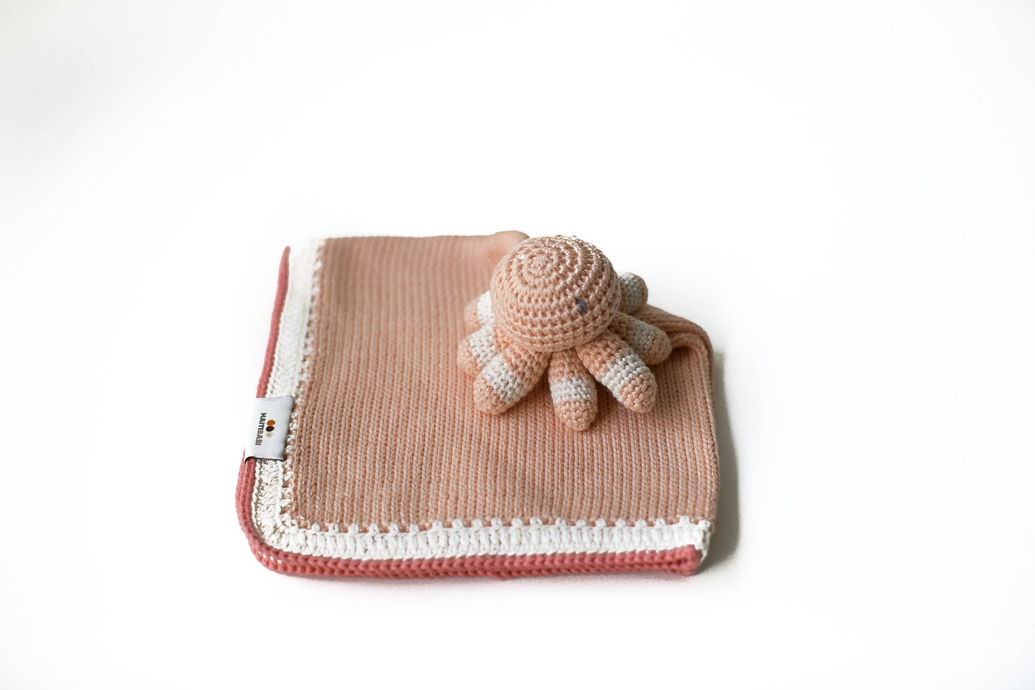 Handknit Octopus Lovey in Peach -2