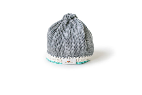 Handmade pima cotton baby hat in stone teal