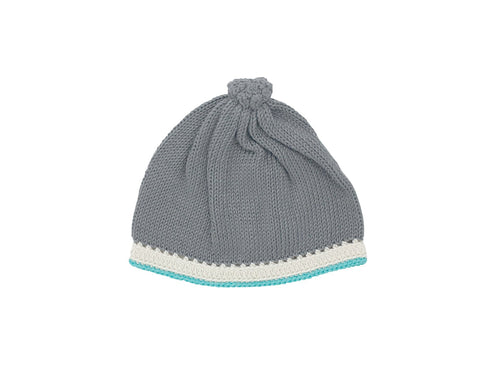Handmade pima cotton baby hat in stone teal flat
