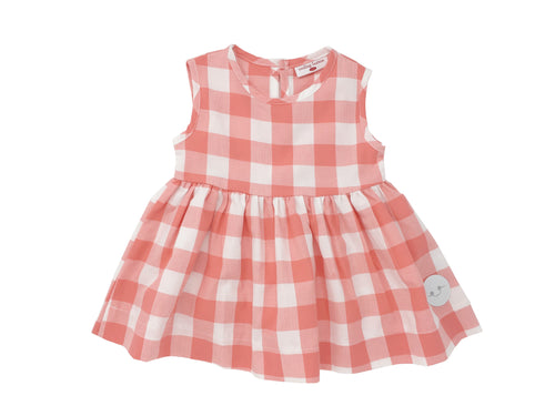 CORAL BUFFALO CHECK PINNY DRESS