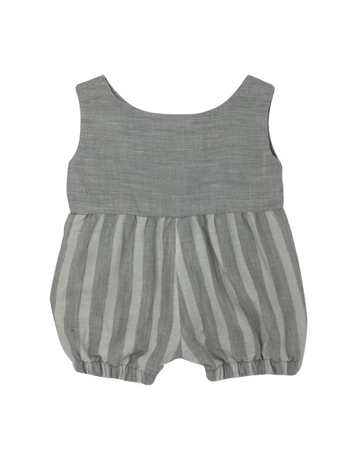 Romper in Pebble with Pebble Stripe - Front