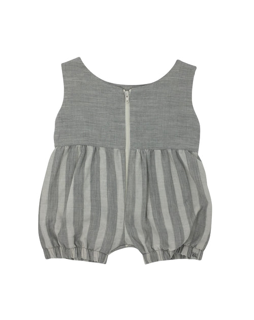 Romper in Pebble with Pebble Stripe - Back