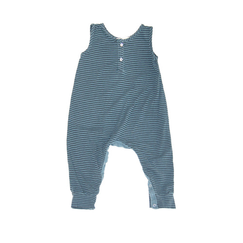 Organic Henley Tank Jumpsuit in Oasis and Black Stripes