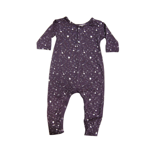 Placket Jumpsuit - Navy Splatter