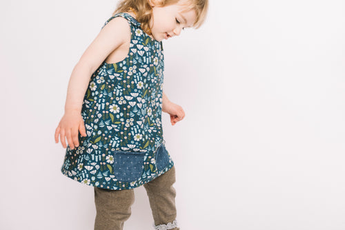 Girl in Franklin Flutter Legging,Organic and Made in the USA