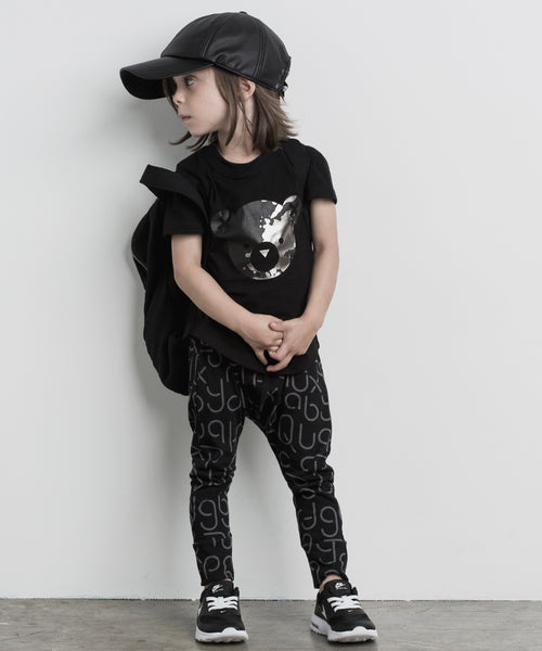 splash bear top with soft text crotch pants