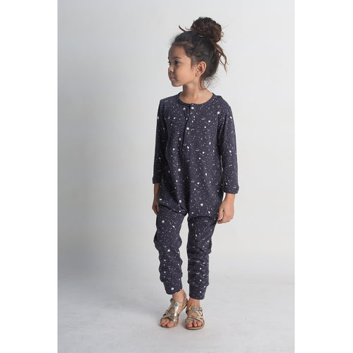 Placket Jumpsuit - Navy Splatter Lifestyle