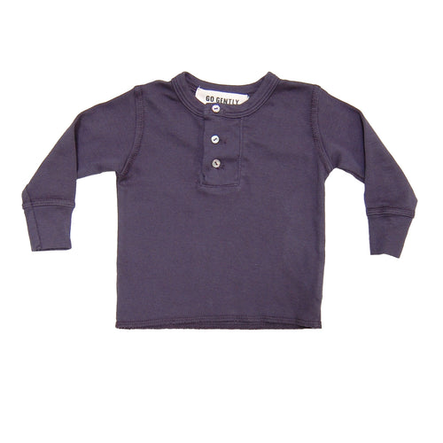 Wide Placket Rib Henley - Navy