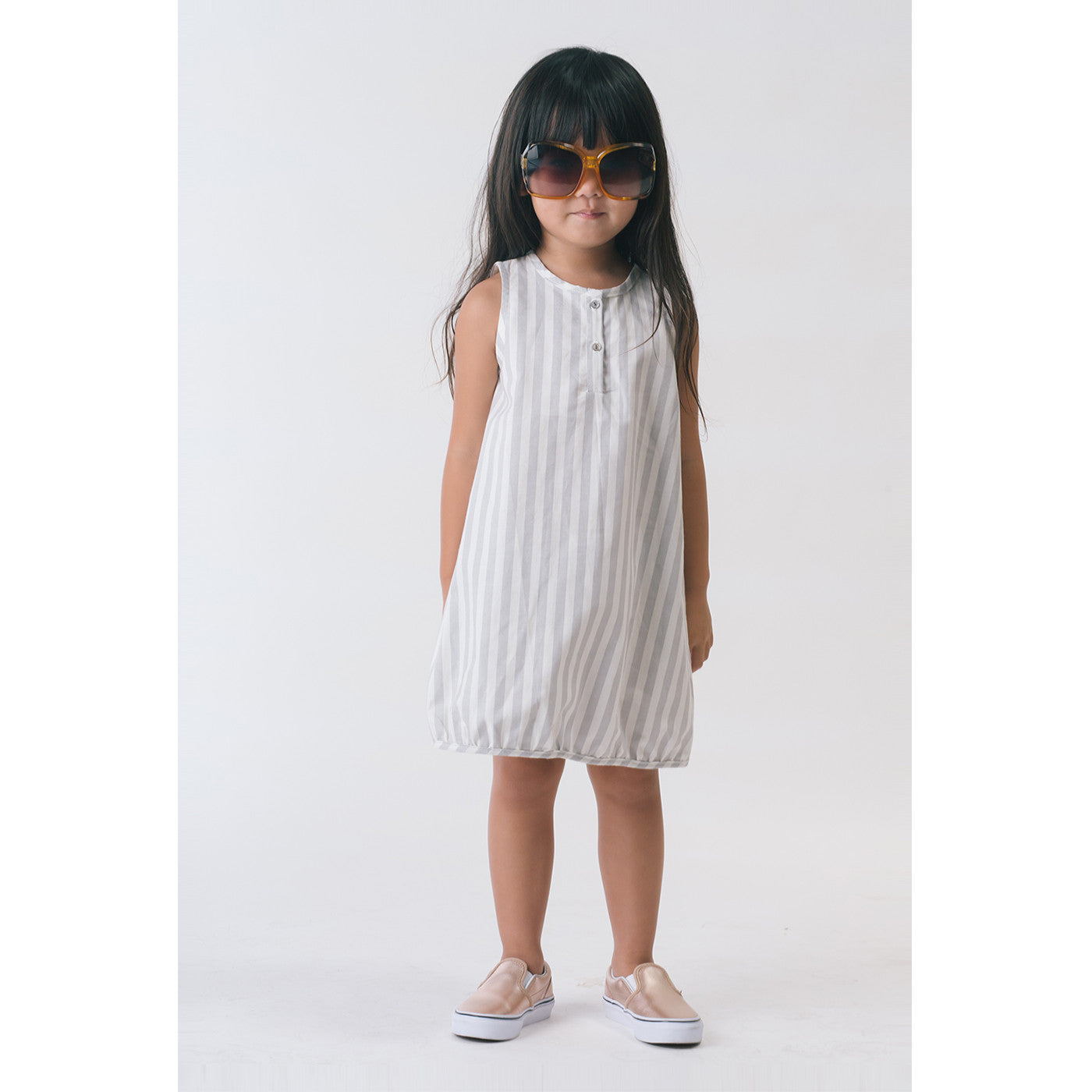Girl in Organic Tank Sack Dress