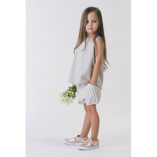 Girl in Organic woven tank blouse and organic woven short