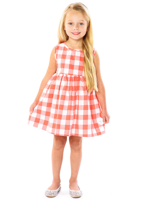 GIRL IN CORAL BUFFALO CHECK PINNY DRESS