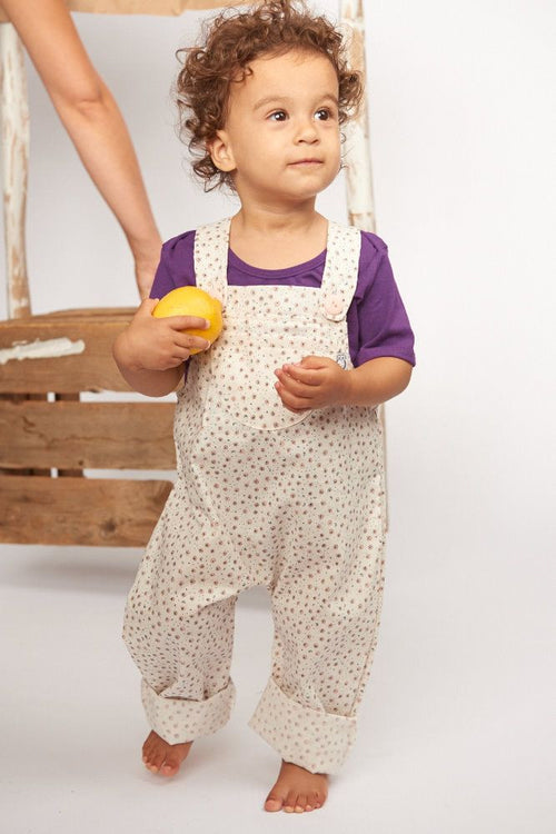 Girl in Organic Pink Dot Flatbush Overall - Front