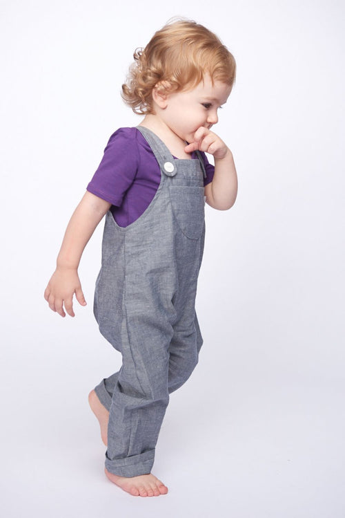 Boy in Organic Chambray Flatbush Overall