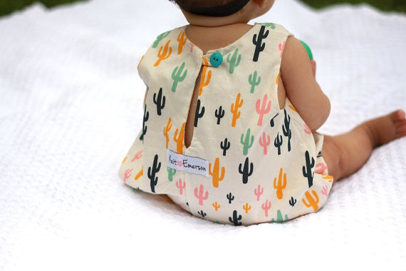 Girl in Cactus Romper - Back